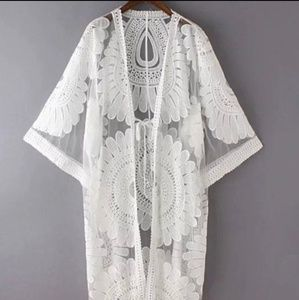 Other - Sheer Boho Lace Kimono Cardigan Swimsuit Cover Up
